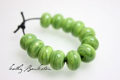 SALE:  Green Lampwork Beads Green Spacer Beads by KathysBeadShop