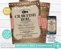 Crawfish Boil Invitations Party Invite Couple's Shower INSTANT DOWNLOAD Red Wood Lobster Engagement Couple's Shower Crab Printable WCWE033 Printing Websites, Printing Services, Online Printing, Engagement Invitations, Party Invitations, Invites, Rustic Garden Party, Night Bar, Grill Party