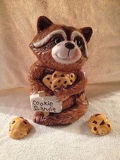 Sneaky Raccoon Cookie Bandit Cookie Jar