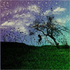 Art, graphic, design, digital, Grass, Tree, Spring, season, Girl, Swing