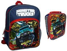 Monster Trucks Backpack and Lunchbox