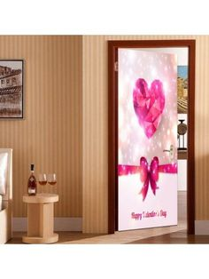 Valentine's Day Heart and Bowknot Pattern Enviromental Removable Door Stickers Cheap Doors, Vinyl Doors, Doors Online, Door Stickers, Valentines Day Hearts, Home Collections, Decals, Wall Decor, Frame