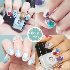 Floral Print Wedding Nails / http://www.deerpearlflowers.com/wedding-nails-you-must-see/