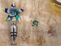 Wine Stoppers - Murano Art Deco Combination Set Starfish Stopper And Wine Charms C2821 Quantity of 1 ** Click on the image for additional details.