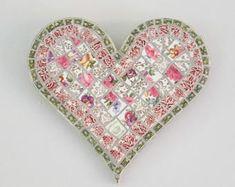 Vintage China Mosaic Heart