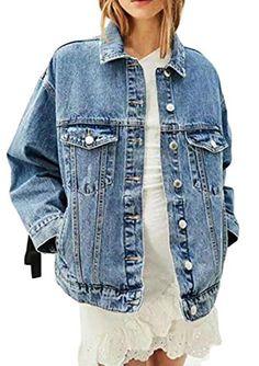 b5e8f090bb happy time Women s Casual Back Lace-up Long Sleeve Loose Denim Coat  Overcoat Dark Blue