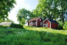 Swedish summer home Swedish Cottage, Red Cottage, Cozy Cottage, Red Houses, Old Farm Houses, Little Houses, This Old House, Sweden House, Small Buildings