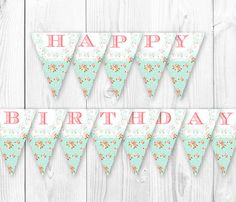 Shabby Chic Birthday Banner Vintage by HauteChocolateFavors