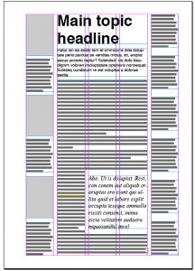 Using columns in magazine layout.