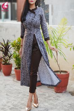 Grey & Dark Brown Printed Cotton Silk Kurti with Dark Brown Cotton Silk Pants Silk Kurti Designs, Kurta Designs Women, Kurti Designs Party Wear, Indian Fashion Dresses, Dress Indian Style, Indian Designer Outfits, Casual Indian Fashion, Sleeves Designs For Dresses, Dress Neck Designs