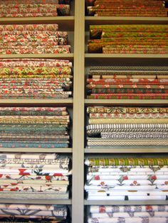 French Provencal fabrics in traditional colors and designs, hand-blocked, with natural pigments of the region in shades of red, blue, yellow and green. (Michel Biehn shop in L'Isle-sur-la-Sorgue)