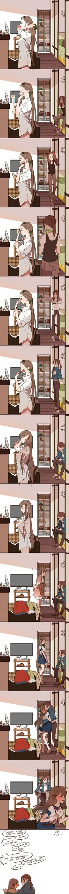 This is like me and my girlfriend. She takes hr to get ready and me it takes 15 or 20 min lol