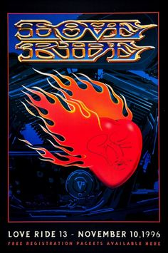 """""""Love Ride"""" Charity Rally for Muscular Dystrophy (1996) Poster Graphics by Stanley Mouse"""
