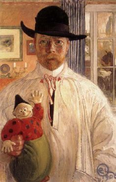 Self Portrait, Carl Larsson. In Grez, Larsson painted some of his most important works, now in watercolour and very different from the oil painting technique he had previously employed.