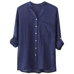 ee3f71db857 Women Cotton Solid Long Sleeve Shirt Casual Loose Blouse Button Down Tops  -- Continue to