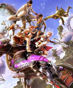 View an image titled 'Main Characters on Bahamut Art' in our Final Fantasy XIII art gallery featuring official character designs, concept art, and promo pictures. Yuna Final Fantasy, Lightning Final Fantasy, Final Fantasy Cloud, Final Fantasy Wallpaper Hd, Fantasy Anime, Final Fantasy Characters, Fantasy World, Fantasy Series, Fantasy Places