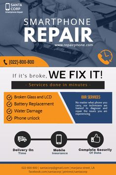 Copy of Smart phone repair flyer Flyer Poster, Flyer And Poster Design, Computer Service, Phone Service, Iphone Repair, Mobile Phone Repair, Water Damage Repair, Smartphone, Phone Shop
