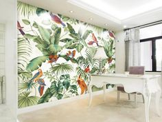 Mural roll of 1sq m wallpaper for stimulating wall decor This beautifully illustrated mural helps you create an enjoyable atmosphere in any of your home spaces