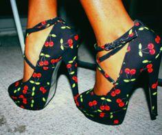Cute rockabilly cherry shoes