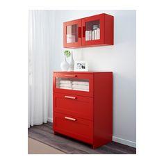 BRIMNES Wall cabinet with glass door - red - IKEA