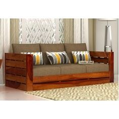 Delicieux Stegen 3 Seater Wooden Sofa (Honey Finish)