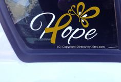 Hope w/ Metallic Gold Awareness Ribbon And by directvinyl on Etsy