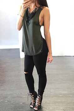 Relaxed yet edgy, this cami top can give a stunning twist to your ensemble. It has a relaxed silhouette with an added dash of sexiness thanks to spaghetti straps back. Stay comfy and fresh with its stretchable jersey fabric. Go for that model off-duty look by pairing this cami top with jeans and pumps or pair it with a denim jacket for that edgy vibe.