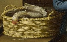 "1771. Detail of ""Kitchen Scene"" by John Atkinson.  A basket of fowl."