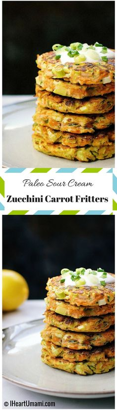 Zucchini Carrot Fritters with Paleo Sour Cream ! Golden crispy Paleo fritters with gluten free and dairy free sour cream. A perfect way to help you eat more vegetables.  #21DSD