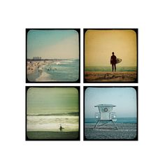 Surfer Photography Set, Beach Decor, Summertime Shorelines - Set of 4 5x5 Photographs, Gifts for him, Surfers via Etsy