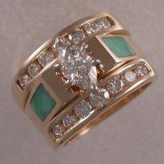 Hecho a la medida por encargo amarillo Anillo de Compromiso de Oro,turquesa y de diamantes.