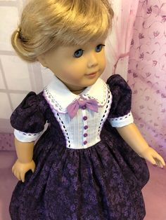 Dark Purple party dress / fits American Girl type dolls | Etsy American Doll Clothes, Ag Doll Clothes, Baby Girl Dresses, Flower Girl Dresses, Doll Dresses, Purple Party Dress, Girl Dolls, Ag Dolls, Doll Dress Patterns