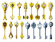 Fairy Tail Lucy Heartfilia's Keys of celestial spirits. Fairy Tail Lucy, Fairy Tail Keys, Read Fairy Tail Manga, Fairy Tail Amour, Image Fairy Tail, Anime Fairy Tail, Fairy Tail Guild, Fairy Tail Ships, Yukino Fairy Tail