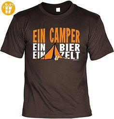 Fun Shirt mit lustigem Motiv - Ein Camper, ein Bier, ein Zelt - Wohnwagen - Geschenk zum Geburtstag - Camping - braun (*Partner-Link)