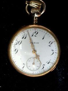 ANTIQUE-VINTAGE-ELGIN-POCKET-WATCH-GOLD-FILLED-OPEN-FACE-1912-HUNTER