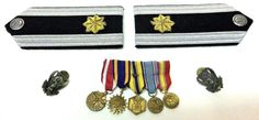 18.95 Air Force Shoulder Boards Merit Medals Ribbons Eagle Lapel Pins Military Defense #AirForce #ShoulderBoard #Medals #Merit #Ribbons #Eagle #Pins