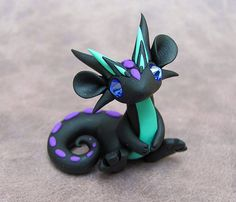 Black and Teal Scrap Dragon by DragonsAndBeasties on Etsy Too cute!