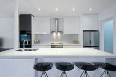 Beautiful; modern white kitchen.