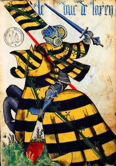 """le Duc de Saxe.... http://www.internationalheraldry.com/roll_toison.htm .... Armorial équestre de la Toison d'Or, folio N° 15... """"burelé d'or et de sable au crancelin de sinople en bande sur le tout"""""""