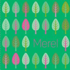 Geboortekaartje met patroon van retro bomen voor een meisje / dochter.