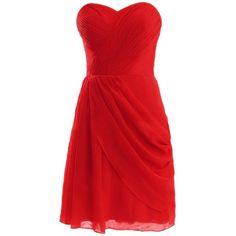 Diyouth Short Asymmetric Bridesmaid Dresses Sweetheart Prom Evening... ❤ liked on Polyvore featuring dresses, gowns, short red dress, bridesmaid gown, red bridesmaid dresses, red evening dresses and red evening gowns