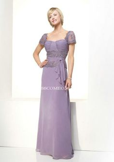 A-line Short Sleeve Floor-Length Chiffon Mother Of The Bride Dresses