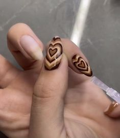 Best Acrylic Nails, Acrylic Nail Designs, Brown Nail Designs, Heart Nail Designs, Acrylic Art, Milky Nails, Acylic Nails, Nagellack Design, Nail Jewelry