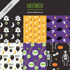 Patterns with hand-drawn halloween elements Free Vector