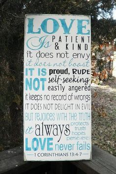 "Hand painted wood sign,Primitive sign  Love sign Love is patient love is kind . scripture sign 1 Corinthians 13: 4-7. Made of wood, and measures 11  1/4"" X 24""H"