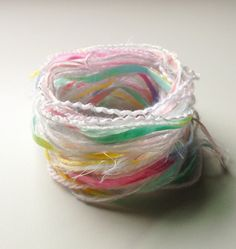 Lovely Pastel yarn fibers. 12 yards on Etsy, $3.75
