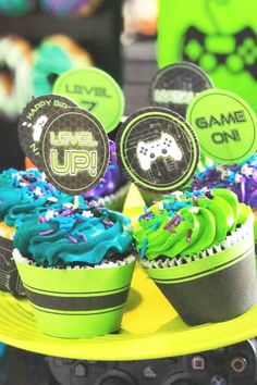 Check out this awesome gamer birthday party! The cupcakes are fantastic! See more party ideas and share yours at CatchMyParty.com #catchmyparty #partyideas #videogames #gamer  #cupcakes #fortnite #playstation #girlbirthdayparty