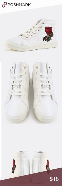 New White Lace-up Floral Embroidered Sneakers Brand new. Comes with box. Rounded toe, rubber sole. high top, rose embroidery on the sides. Size 7.5! They're true to size. Shoes Sneakers