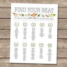 Wedding Seating Chart - Printable PDF - Garden Whimsy. Freckled Stationery on Etsy.