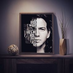 Eddie Vedder from Pearl Jam Release lyric poster.  This print can be customizable. You can choose your own Pearl Jam lyrics or a quote of Eddie Vedder. Word count is limited to 20 words or less.  PLEASE NOTE: Frames not included (only print).  Please allow up to 48 hours for me to work on custom prints. I will show you a proof for your approval before the print is put into production.  If you like the print as is, simply choose your preferred size from the drop down menu.  >>>SIZE of PRINT…